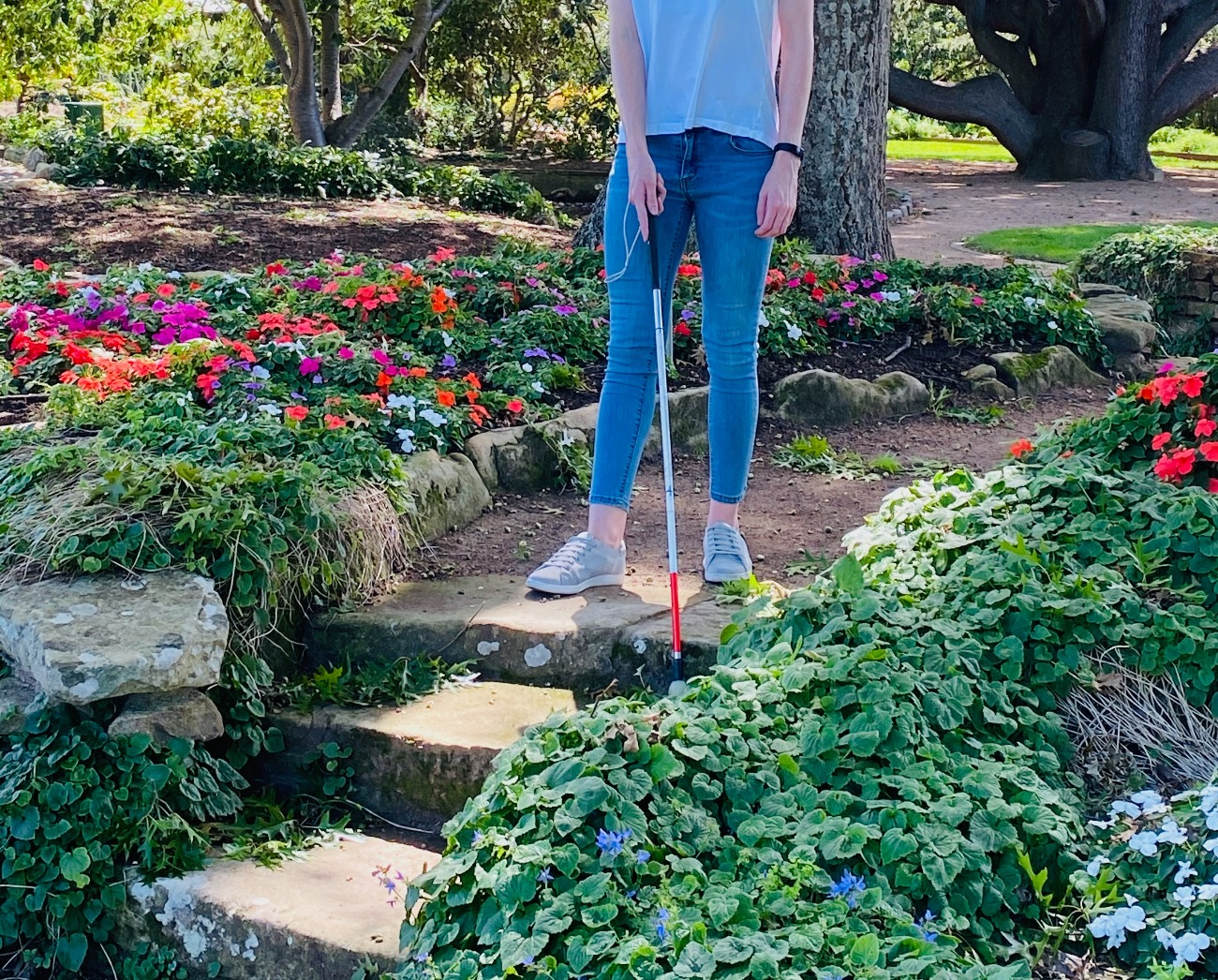 Image description: Client walking with white mobility cane in a park. There are colourful flowers on either side of her.  She is standing at the top of a small set of steps going down. She has detected the steps with her cane.